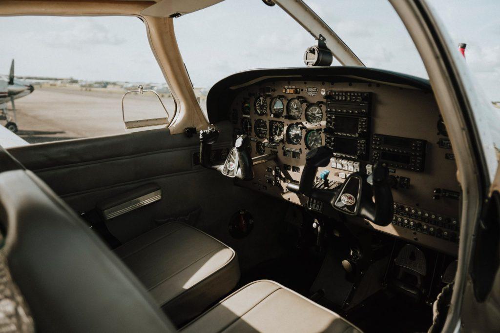 Cockpit of a flight training airplane.